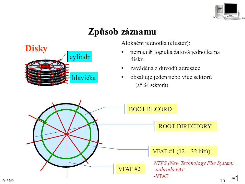 Způsob záznamu Disky + cylindr hlavička Alokační jednotka (cluster):
