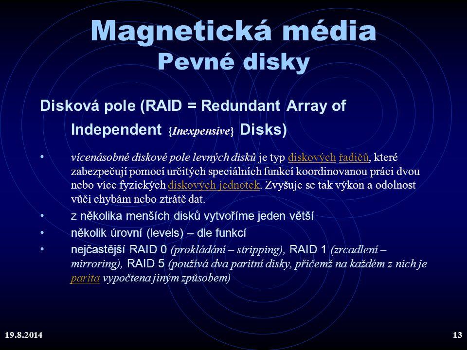 Magnetická média Pevné disky