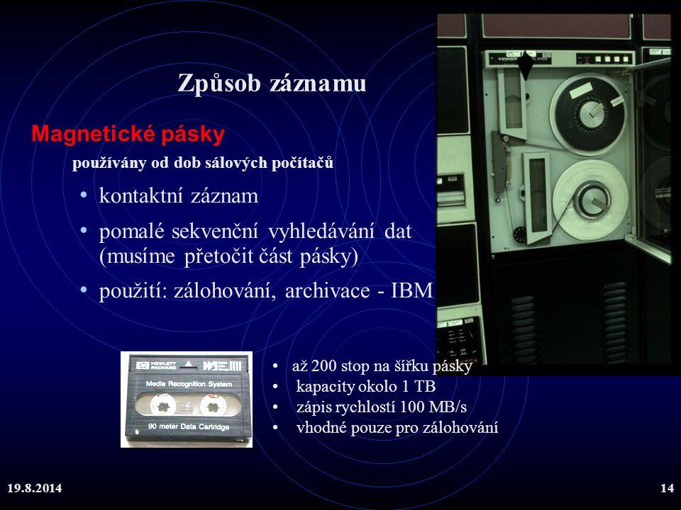 Způsob záznamu Magnetické pásky kontaktní záznam