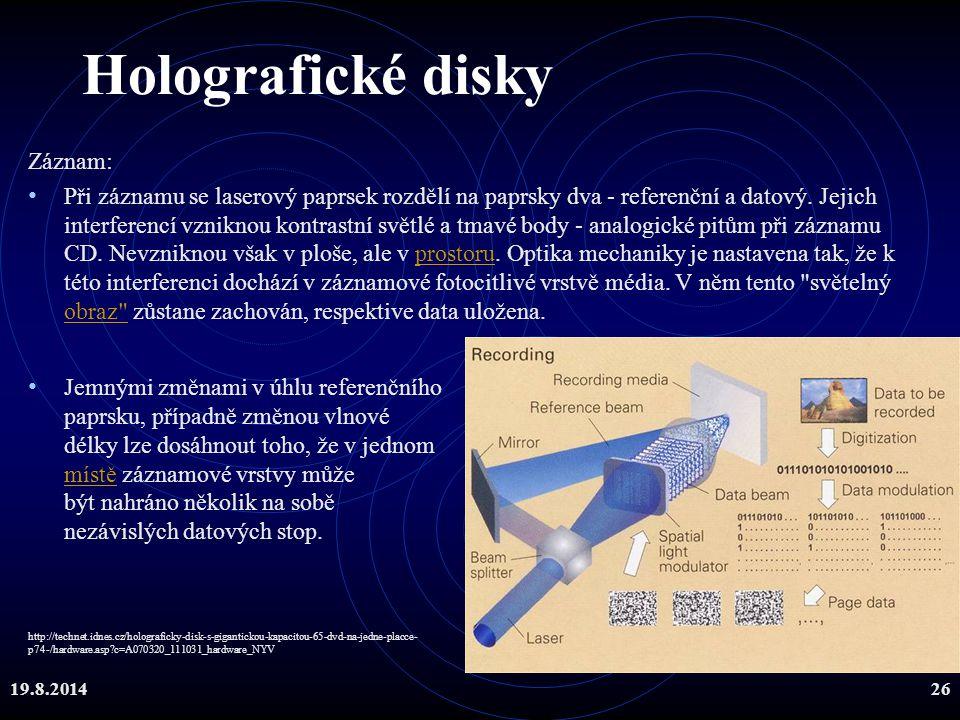 Holografické disky Záznam: