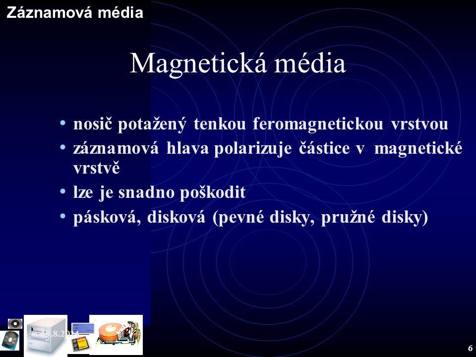 Magnetická média nosič potažený tenkou feromagnetickou vrstvou
