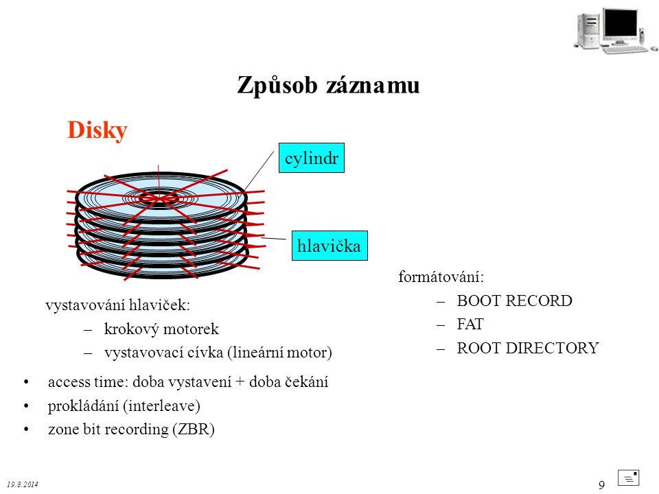 Způsob záznamu Disky + cylindr hlavička formátování: BOOT RECORD FAT