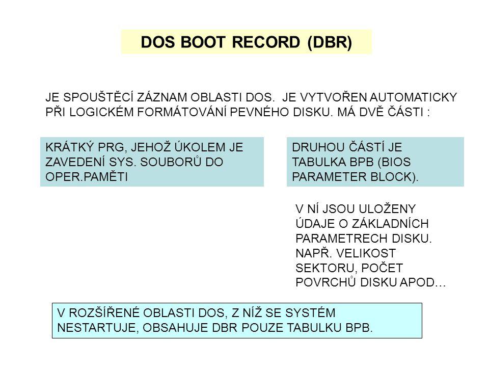 DOS BOOT RECORD (DBR) JE SPOUŠTĚCÍ ZÁZNAM OBLASTI DOS. JE VYTVOŘEN AUTOMATICKY PŘI LOGICKÉM FORMÁTOVÁNÍ PEVNÉHO DISKU. MÁ DVĚ ČÁSTI :