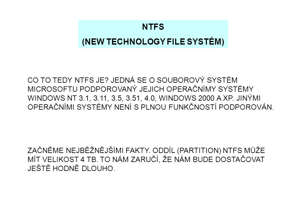 (NEW TECHNOLOGY FILE SYSTÉM)