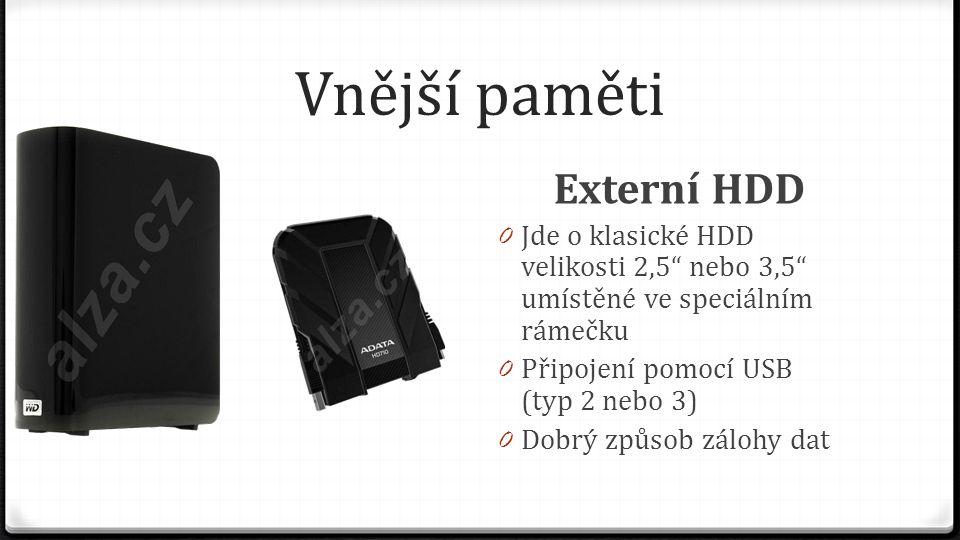 Vnější paměti Externí HDD