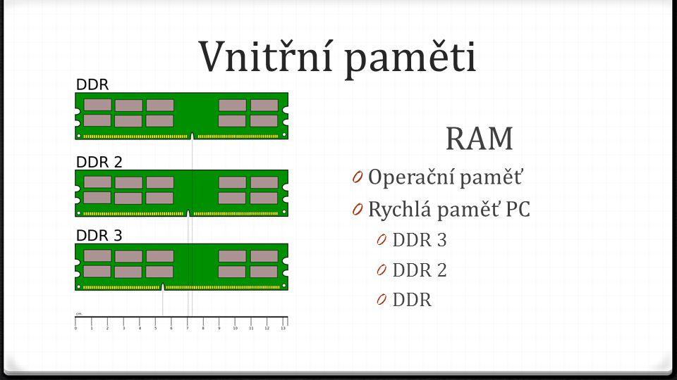 Vnitřní paměti RAM Operační paměť Rychlá paměť PC DDR 3 DDR 2 DDR