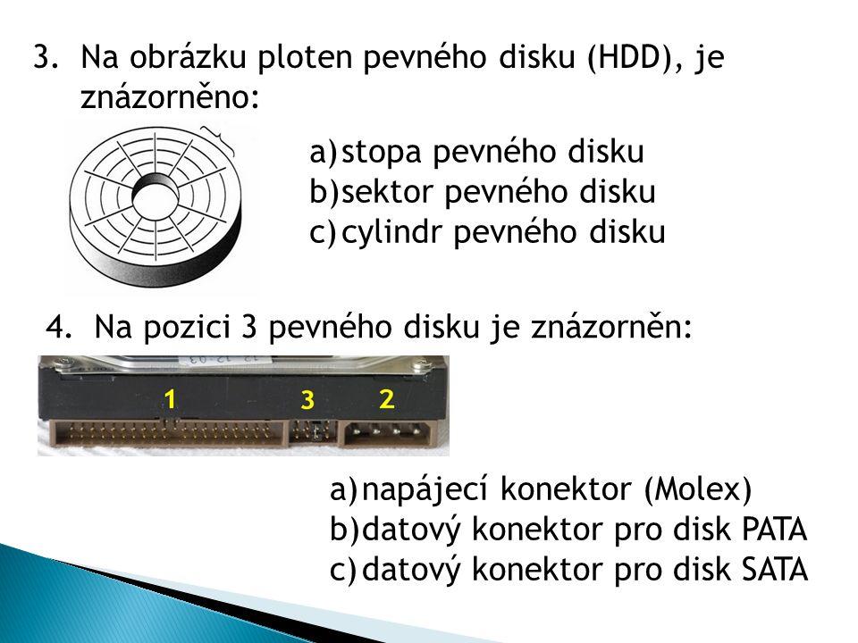 Na obrázku ploten pevného disku (HDD), je znázorněno: