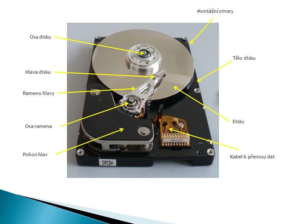 Montážní otvory Osa disku. Tělo disku. Hlava disku. Rameno hlavy. Disky. Osa ramena. Pohon hlav.
