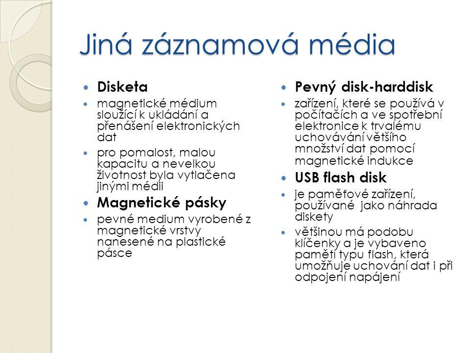 Jiná záznamová média Disketa Magnetické pásky Pevný disk-harddisk