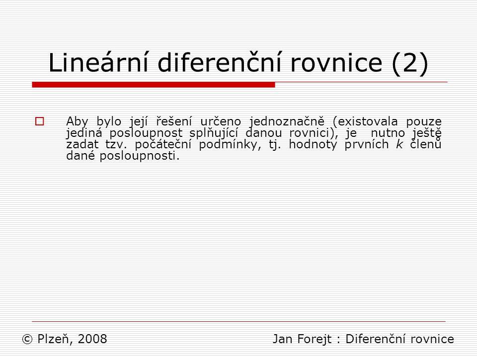 Lineární diferenční rovnice (2)