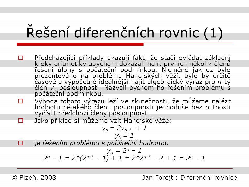 Řešení diferenčních rovnic (1)
