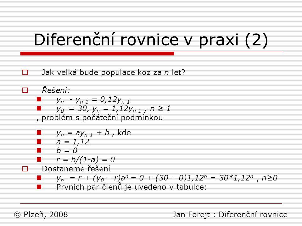 Diferenční rovnice v praxi (2)