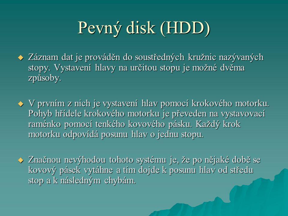 Pevný disk (HDD) Záznam dat je prováděn do soustředných kružnic nazývaných stopy. Vystavení hlavy na určitou stopu je možné dvěma způsoby.
