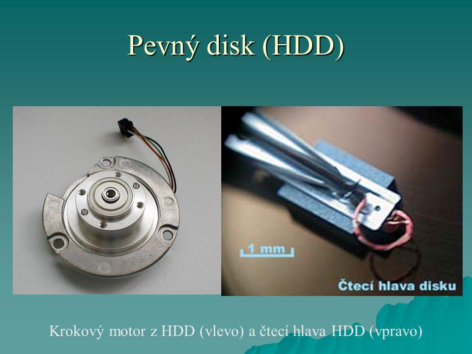 Krokový motor z HDD (vlevo) a čtecí hlava HDD (vpravo)