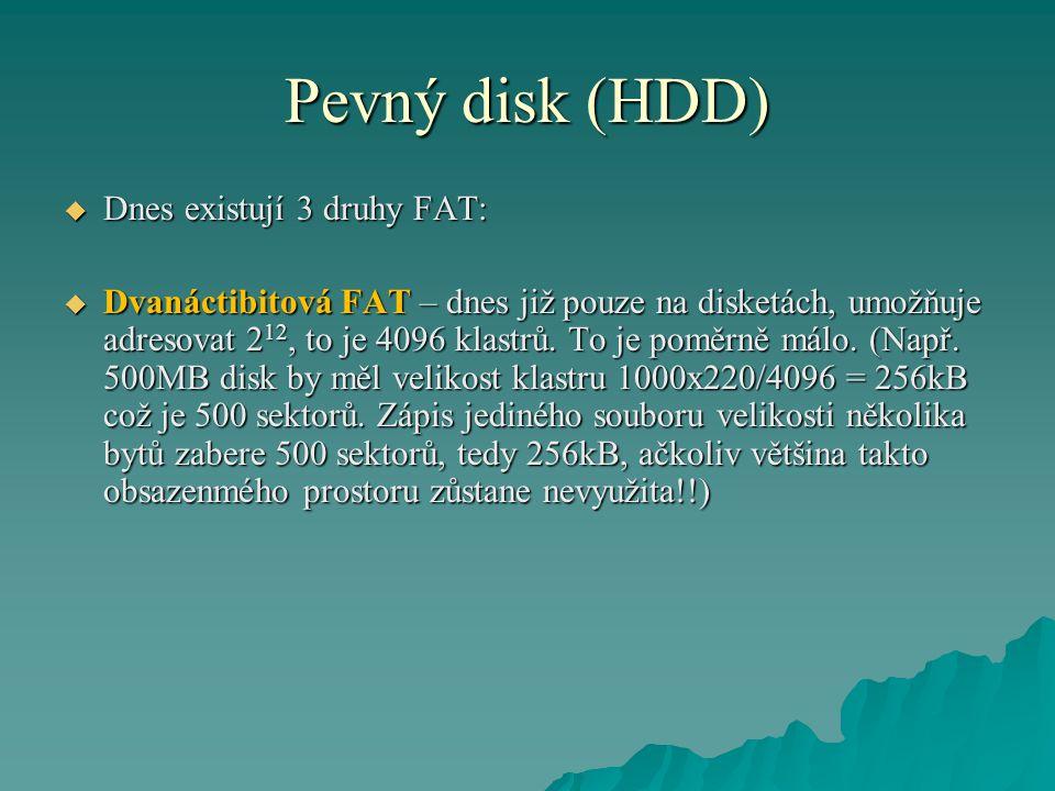 Pevný disk (HDD) Dnes existují 3 druhy FAT: