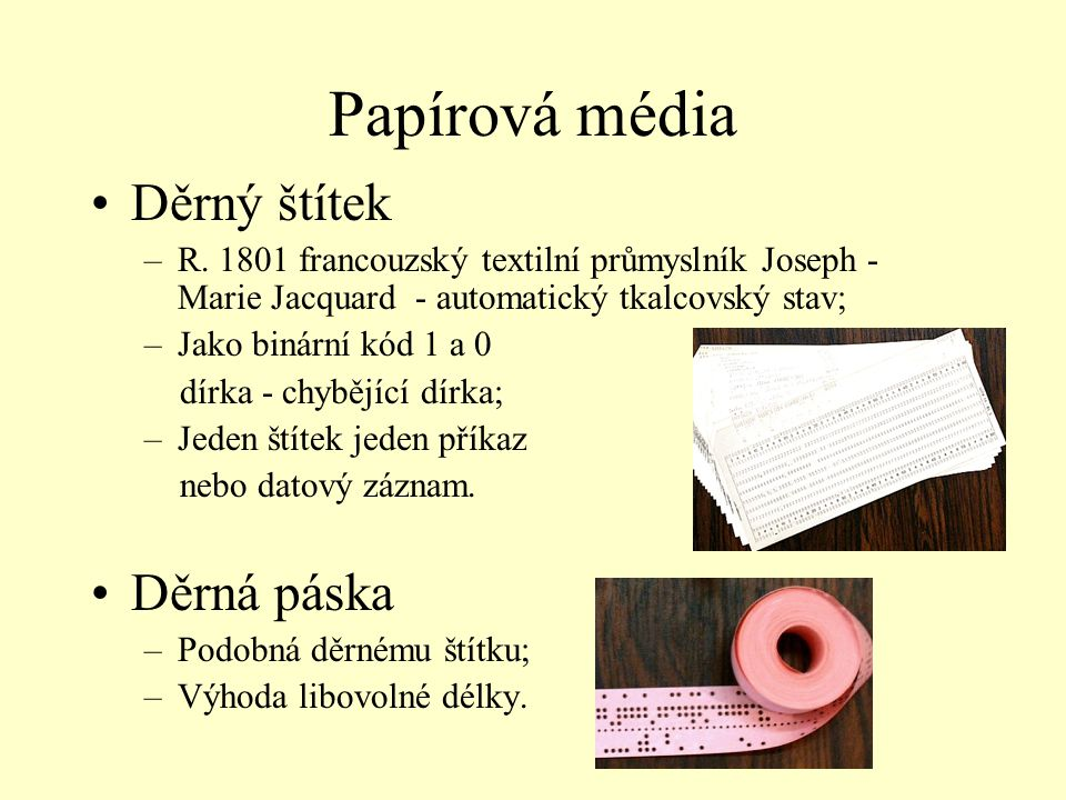 Papírová média Děrný štítek Děrná páska