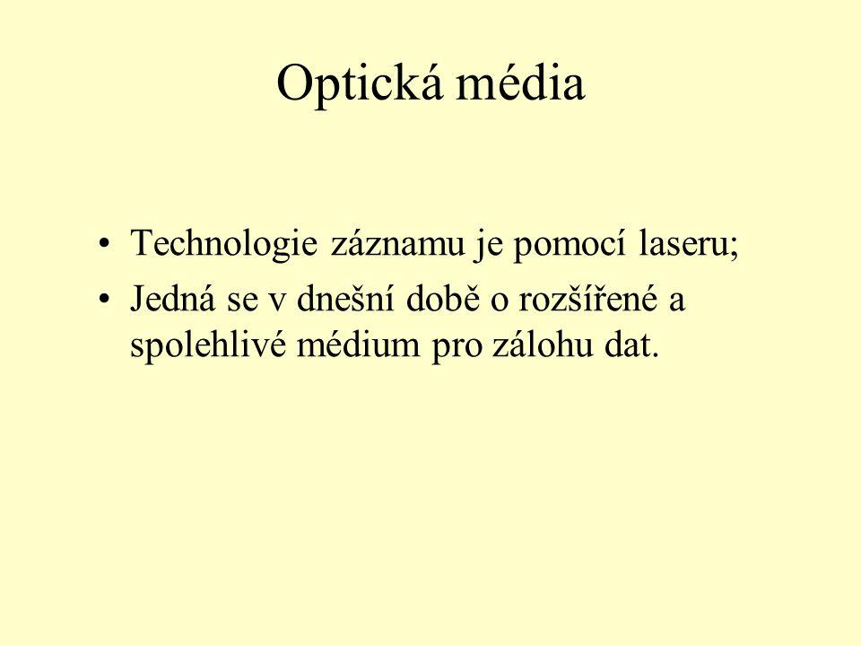 Optická média Technologie záznamu je pomocí laseru;