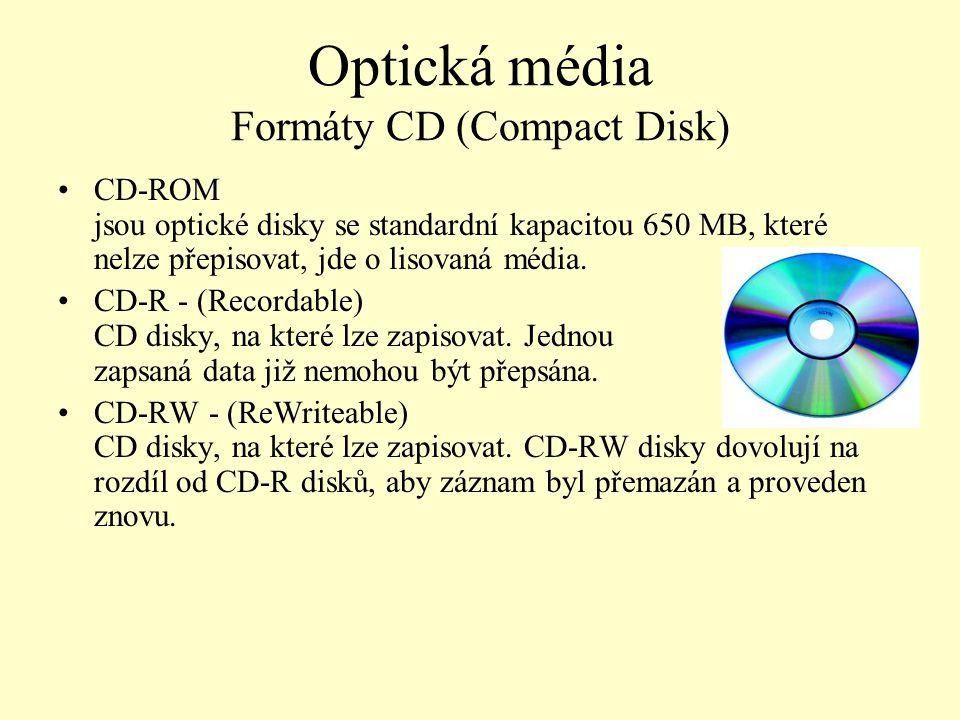 Optická média Formáty CD (Compact Disk)
