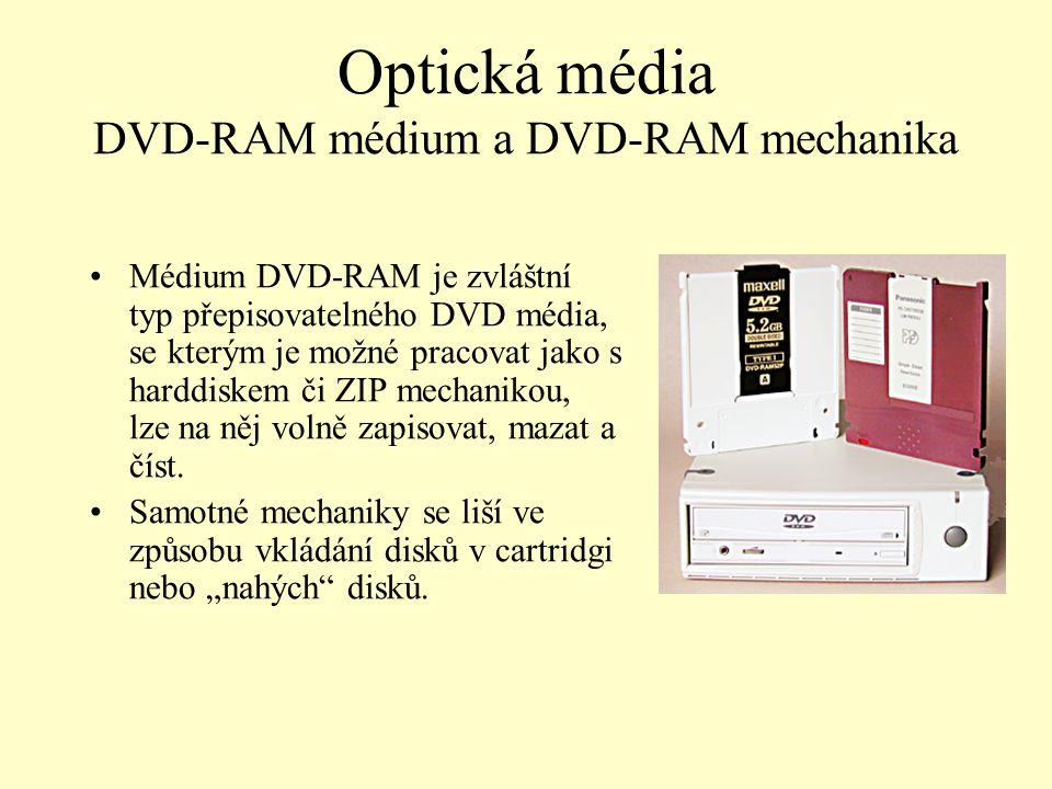 Optická média DVD-RAM médium a DVD-RAM mechanika
