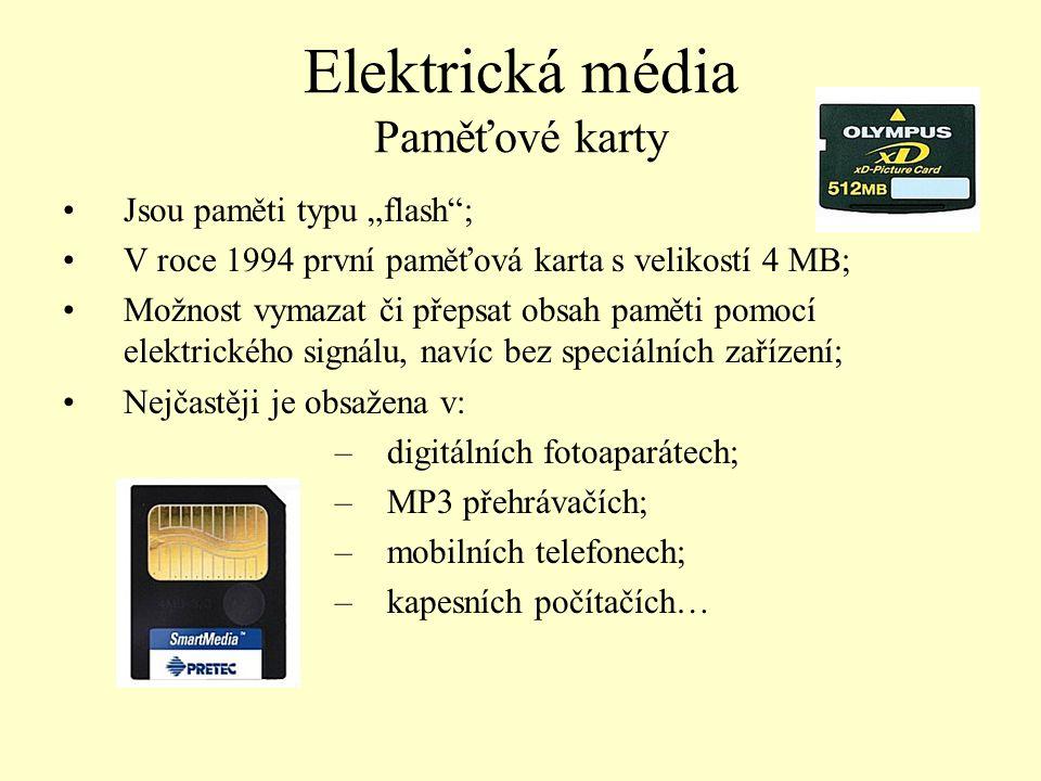 Elektrická média Paměťové karty