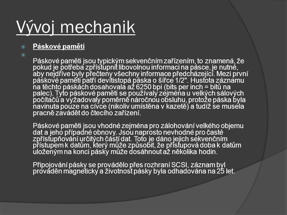 Vývoj mechanik Páskové paměti