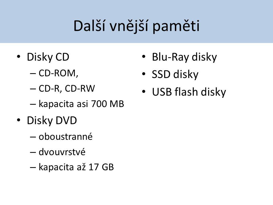 Další vnější paměti Disky CD Disky DVD Blu-Ray disky SSD disky