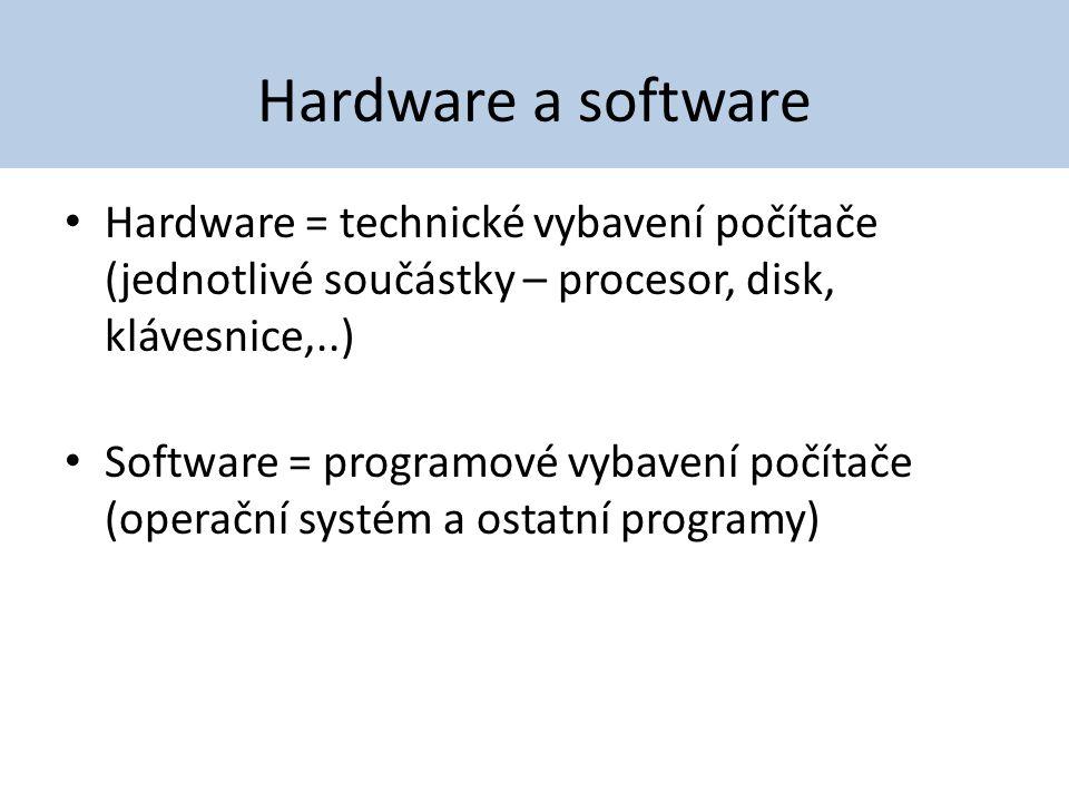 Hardware a software Hardware = technické vybavení počítače (jednotlivé součástky – procesor, disk, klávesnice,..)