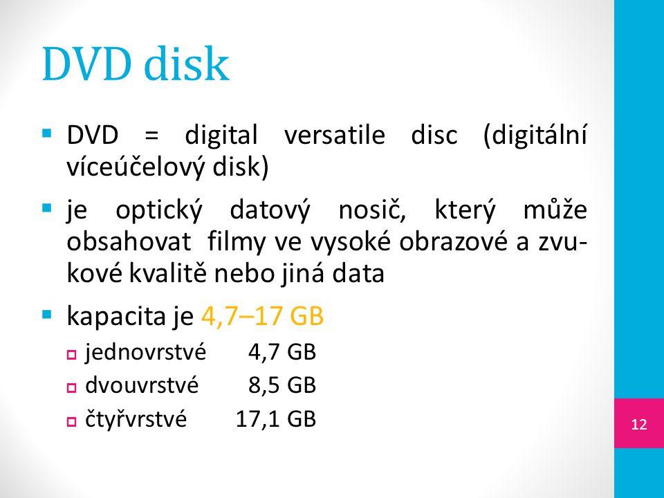 DVD disk DVD = digital versatile disc (digitální víceúčelový disk)
