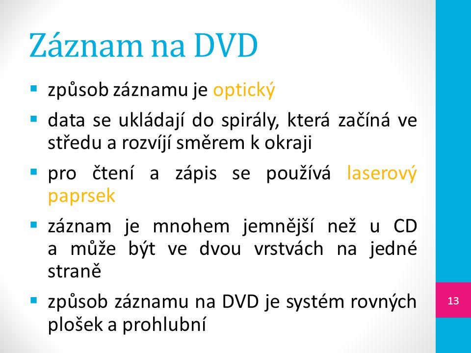 Záznam na DVD způsob záznamu je optický