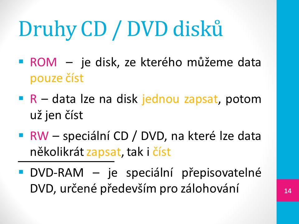 Druhy CD / DVD disků ROM – je disk, ze kterého můžeme data pouze číst