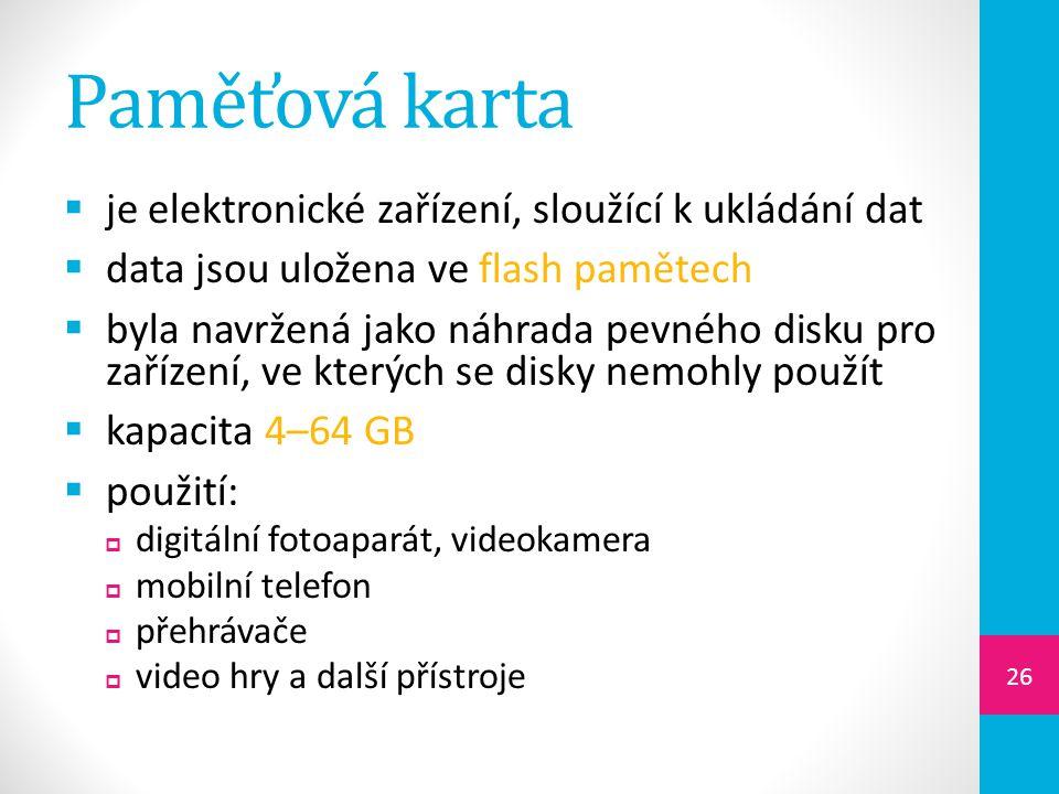 Paměťová karta je elektronické zařízení, sloužící k ukládání dat