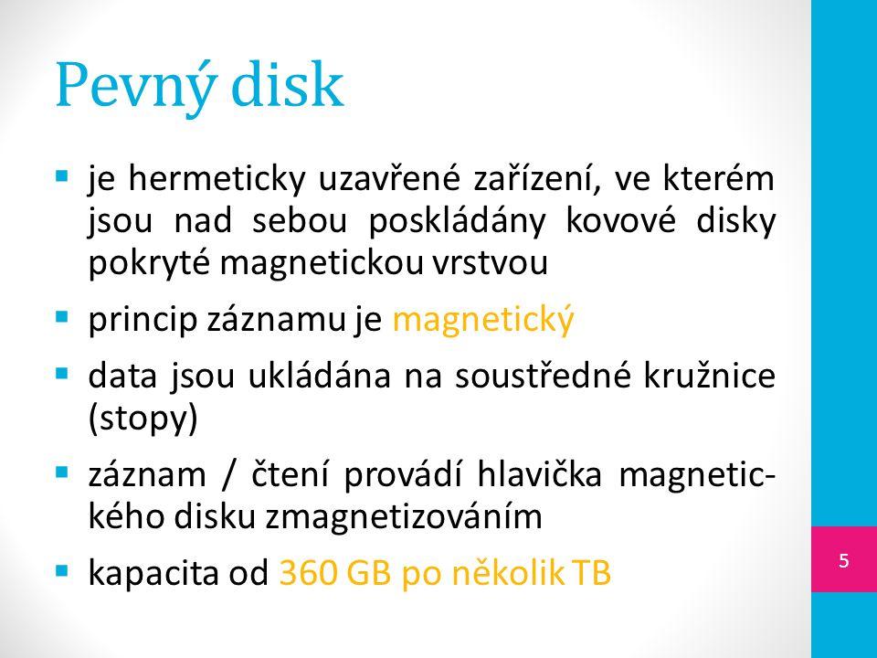 Pevný disk je hermeticky uzavřené zařízení, ve kterém jsou nad sebou poskládány kovové disky pokryté magnetickou vrstvou.