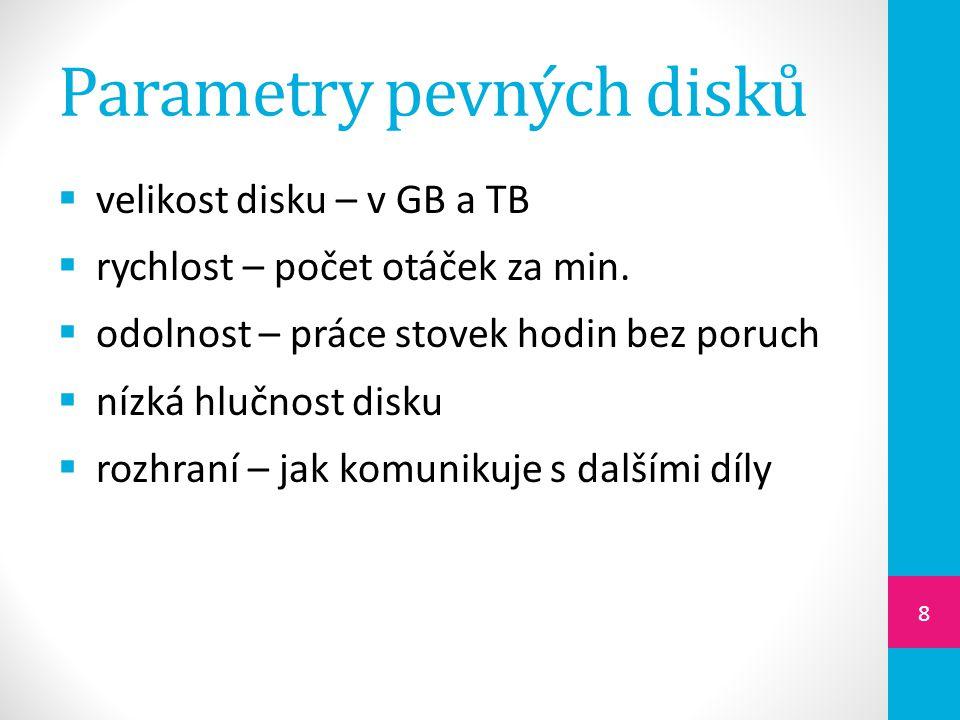 Parametry pevných disků