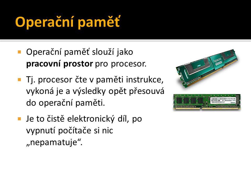Operační paměť Operační paměť slouží jako pracovní prostor pro procesor.
