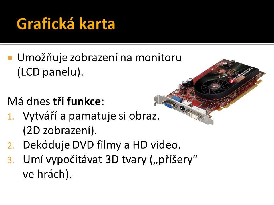Grafická karta Umožňuje zobrazení na monitoru (LCD panelu).