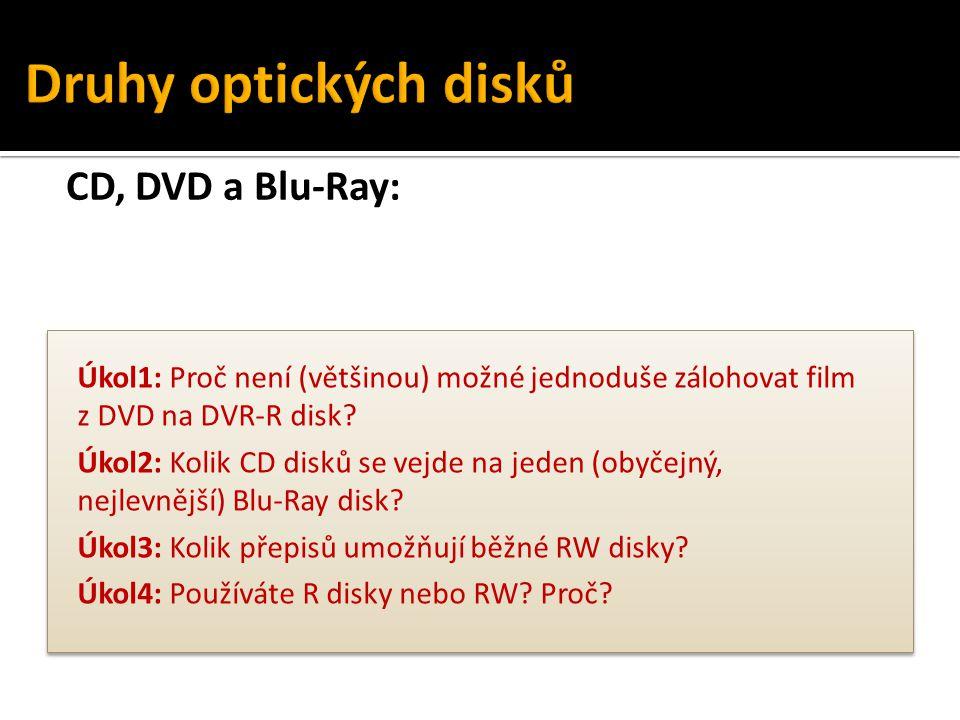 Druhy optických disků CD, DVD a Blu-Ray: