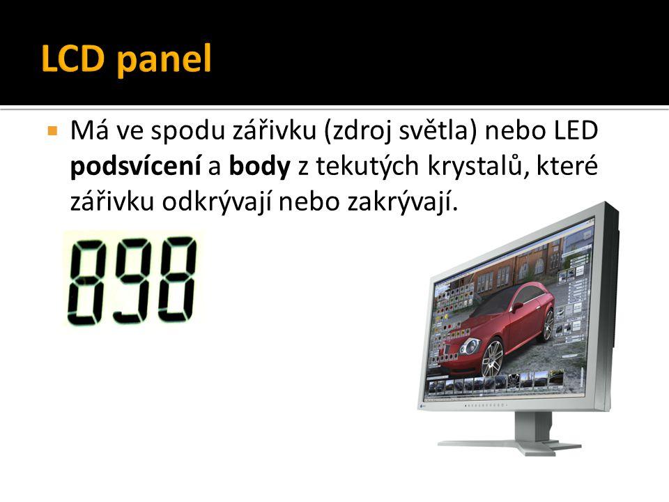 LCD panel Má ve spodu zářivku (zdroj světla) nebo LED podsvícení a body z tekutých krystalů, které zářivku odkrývají nebo zakrývají.