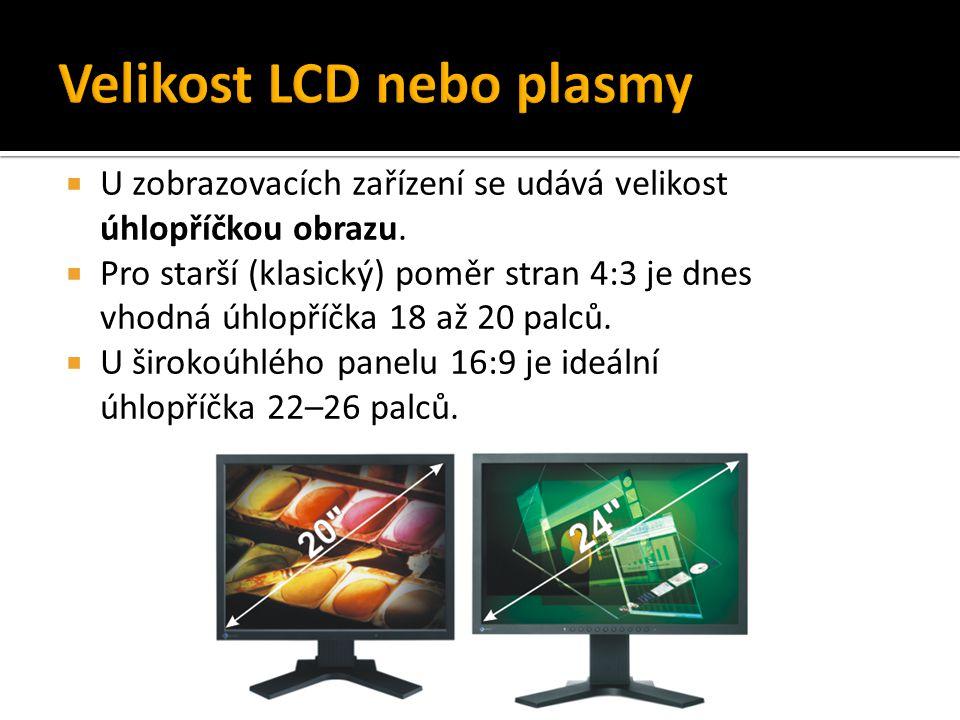 Velikost LCD nebo plasmy