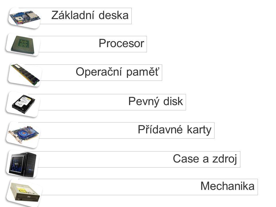 Základní deska Procesor Operační paměť Pevný disk Přídavné karty Case a zdroj Mechanika