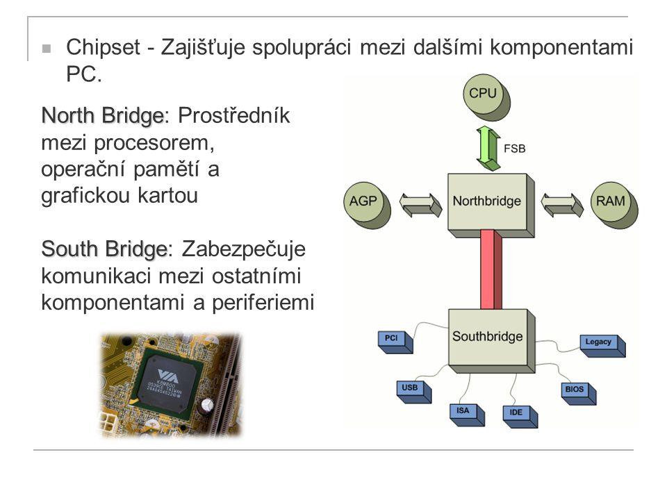 Chipset - Zajišťuje spolupráci mezi dalšími komponentami PC.