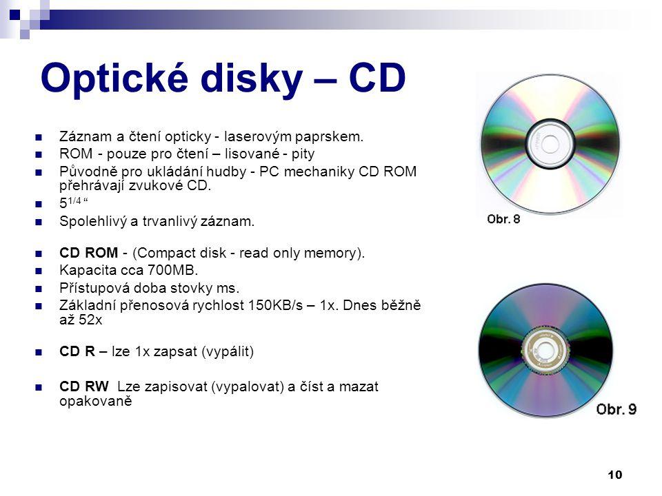 Optické disky – CD Záznam a čtení opticky - laserovým paprskem.