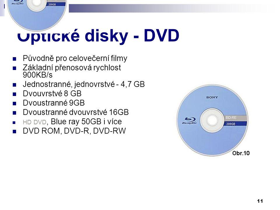 Optické disky - DVD Původně pro celovečerní filmy