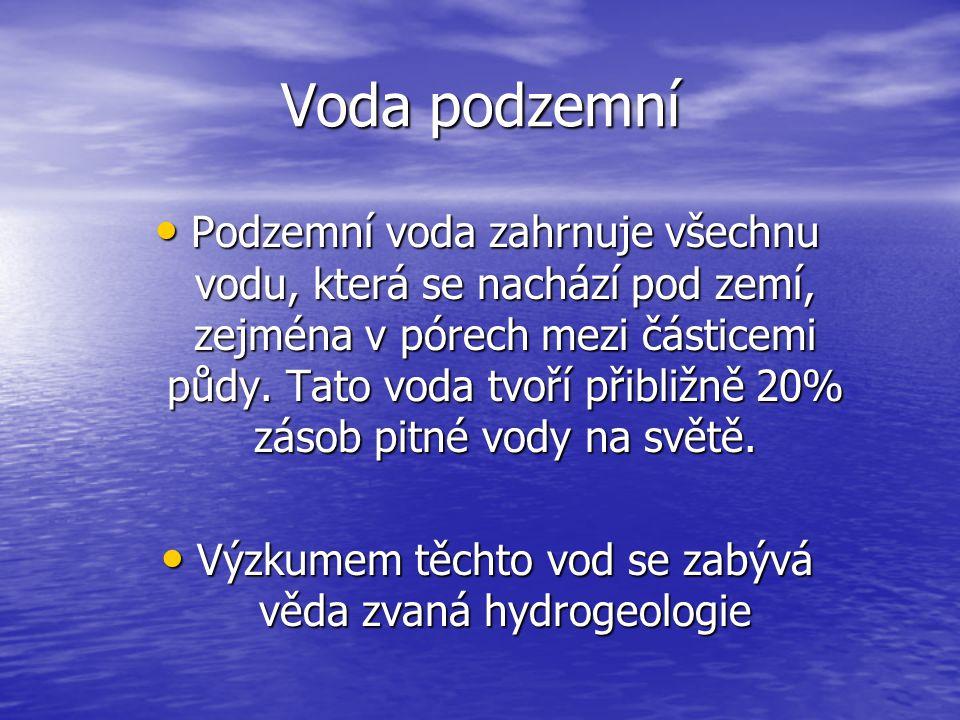 Výzkumem těchto vod se zabývá věda zvaná hydrogeologie