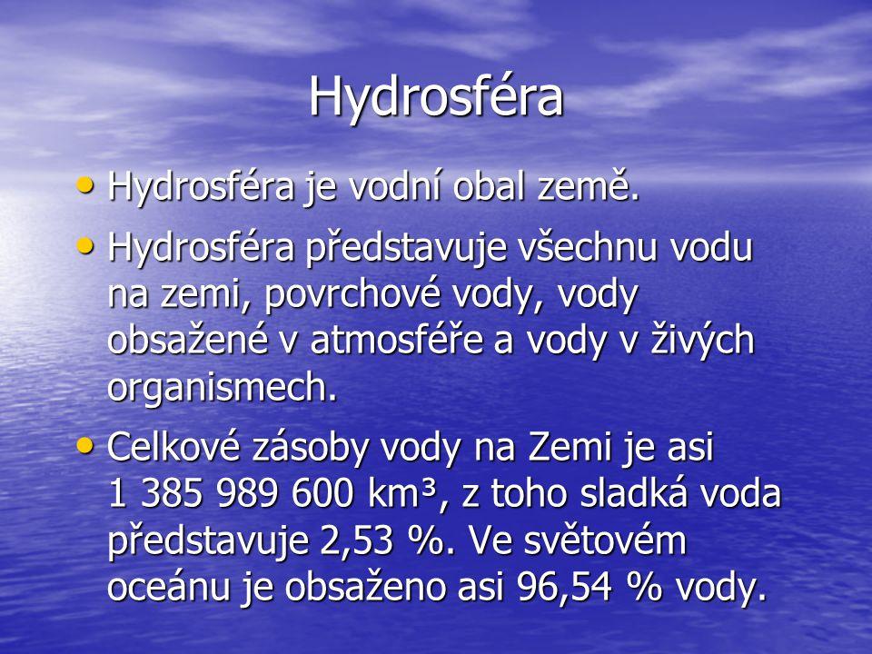 Hydrosféra Hydrosféra je vodní obal země.