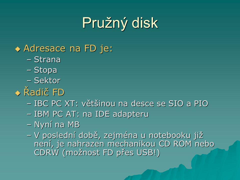 Pružný disk Adresace na FD je: Řadič FD Strana Stopa Sektor