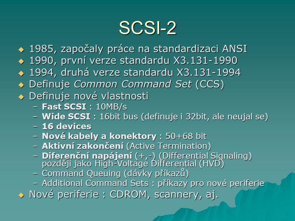 SCSI-2 1985, započaly práce na standardizaci ANSI