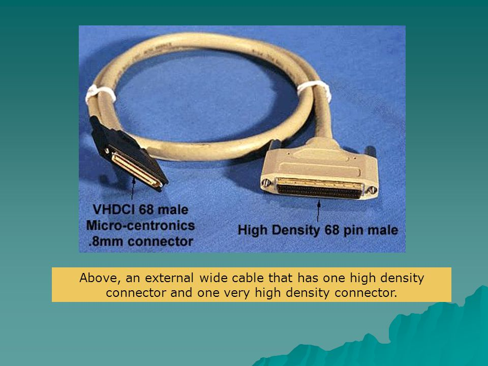 Above, an external wide cable that has one high density