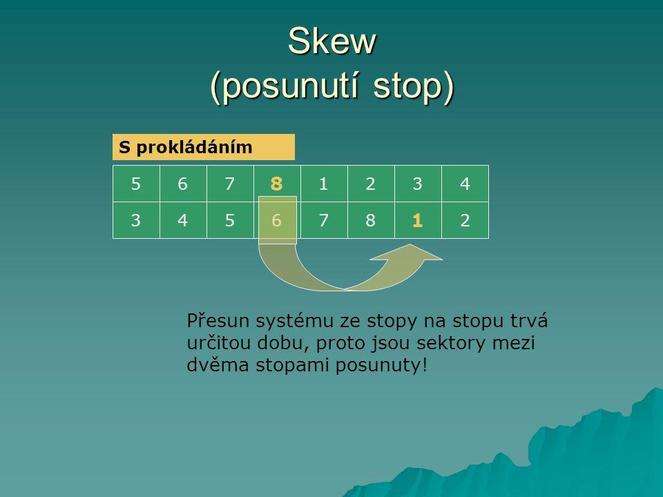 Skew (posunutí stop) S prokládáním. 5. 6. 7. 8. 1. 2. 3. 4. 3. 4. 5. 6. 7. 8. 1. 2.