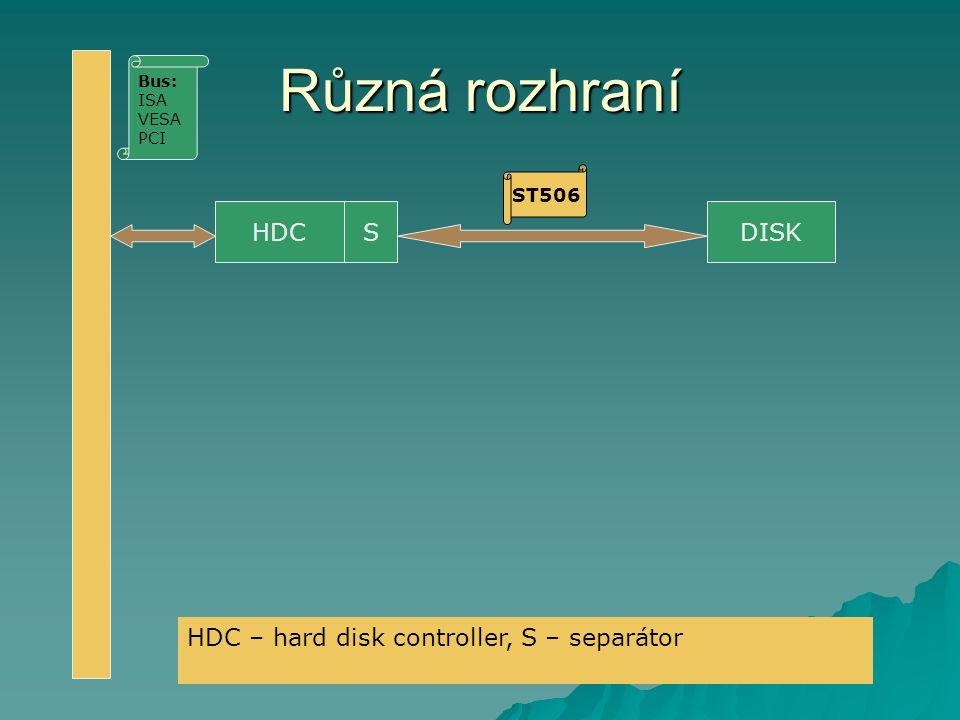 Různá rozhraní HDC S DISK HDC – hard disk controller, S – separátor