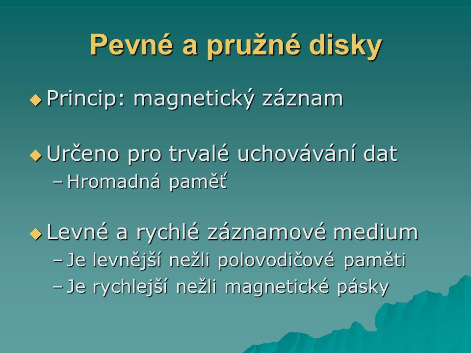 Pevné a pružné disky Princip: magnetický záznam